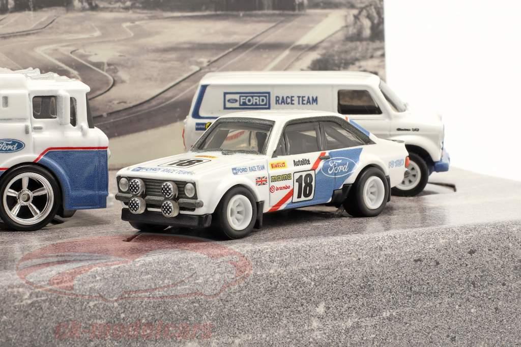 4-Car Set: Ford Rallye hvid / blå 1:64 HotWheels