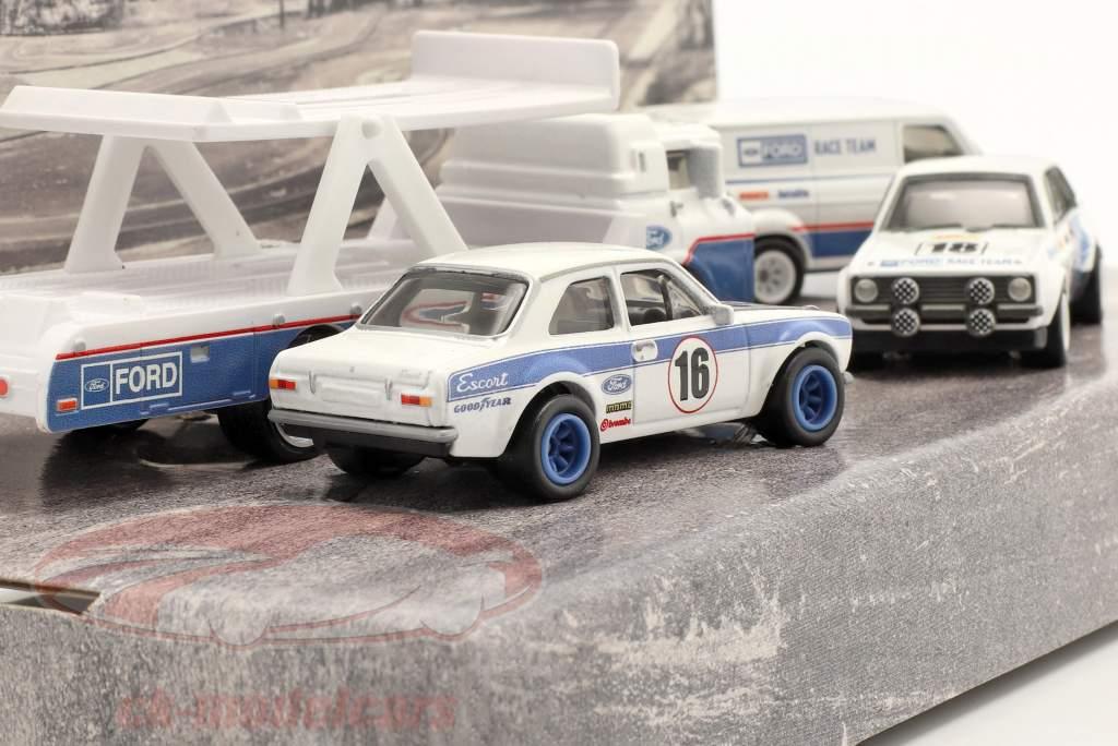 4-Car Set: Ford Rallye weiß / blau 1:64 HotWheels