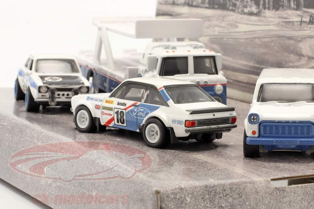 4-Car Set: Ford Rallye blanco / azul 1:64 HotWheels