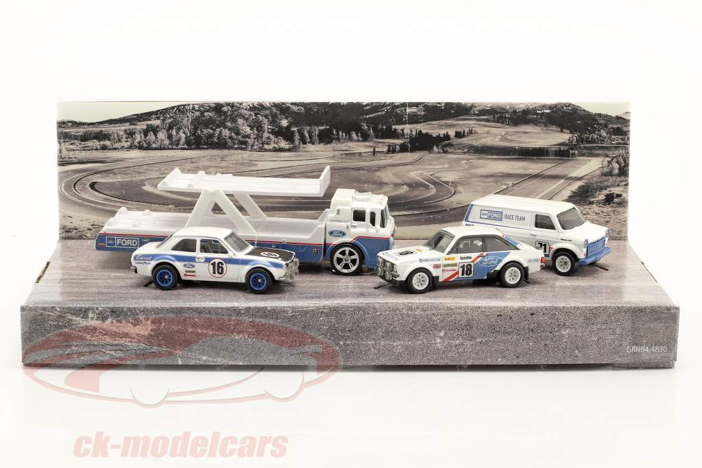 4-Car Set: Ford Rallye white / blue 1:64 HotWheels