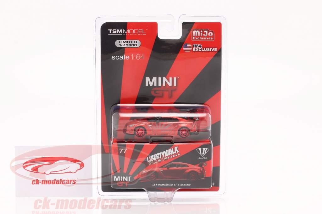 LB-Works Nissan G-TR (R35) LHD candy rojo en Blister 1:64 TrueScale