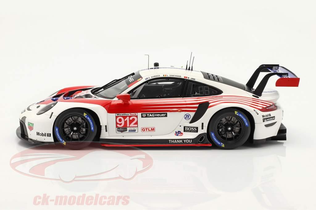 Porsche 911 RSR #912 2do Clase GTLM 12h Sebring IMSA 2020 1:18 Spark