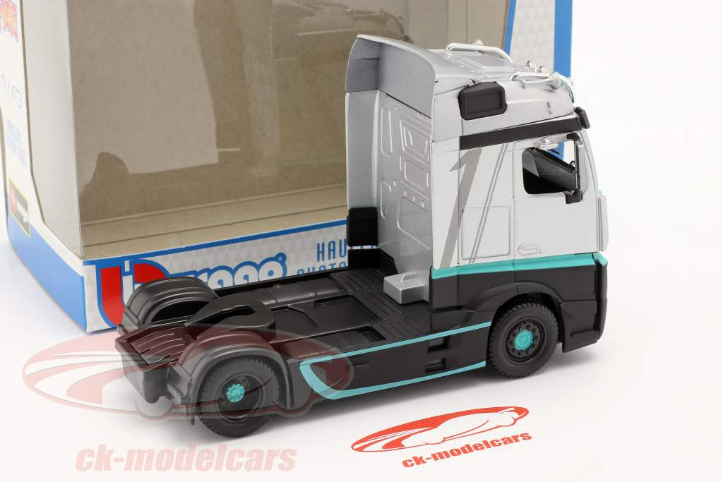 Mercedes-Benz Actros Gigaspace 4x2 Lastbil sølv / sort 1:43 Bburago