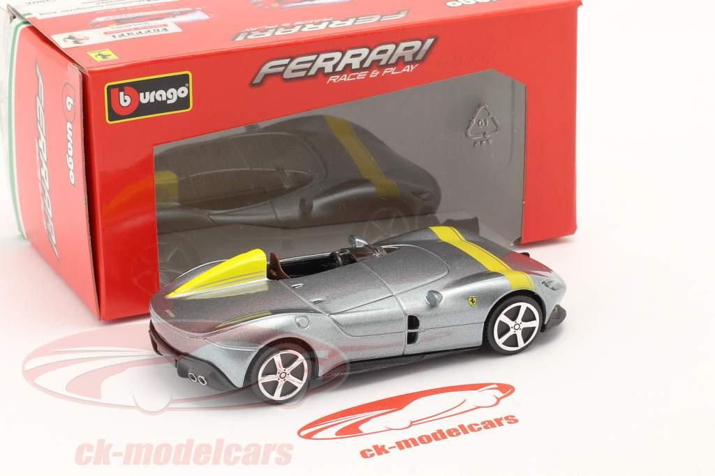 Ferrari Monza SP1 Année de construction 2019 Gris argent métallique / jaune 1:43 Bburago
