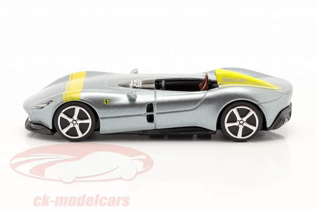 Ferrari Monza SP1 Año de construcción 2019 gris-plata metálico / amarillo 1:43 Bburago