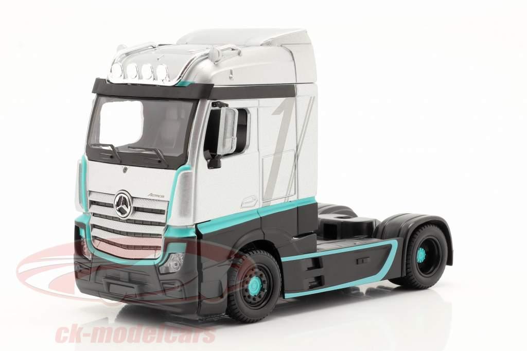 Mercedes-Benz Actros Gigaspace 4x2 Truck silver / black 1:43 Bburago