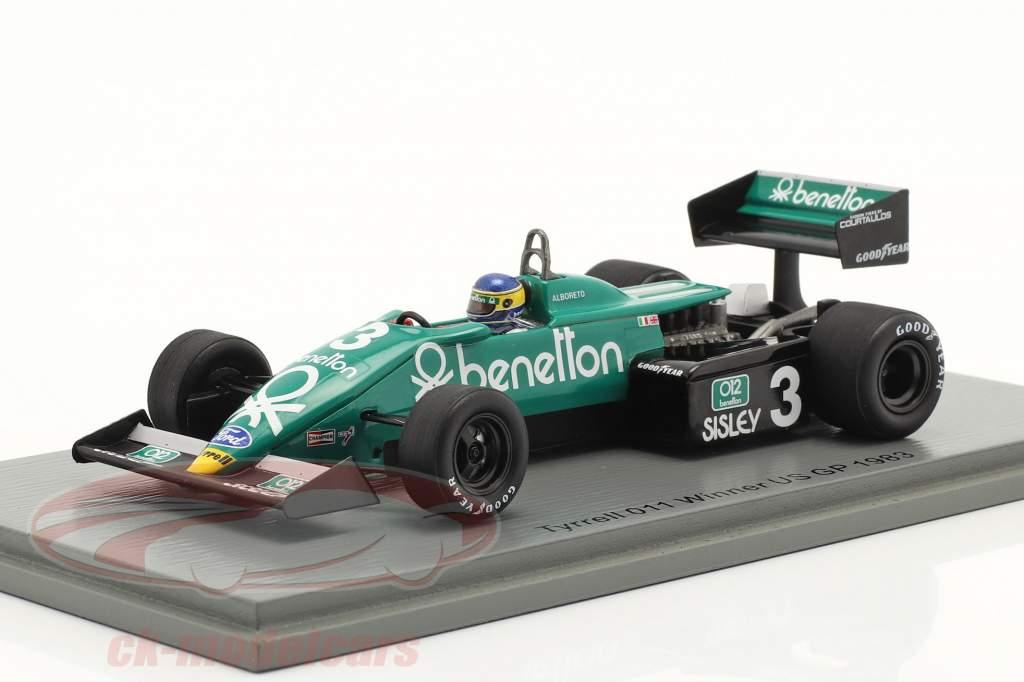 Michele Alboreto Tyrrell 011B #3 vinder Forenede Stater øst GP formel 1 1983 1:43 Spark