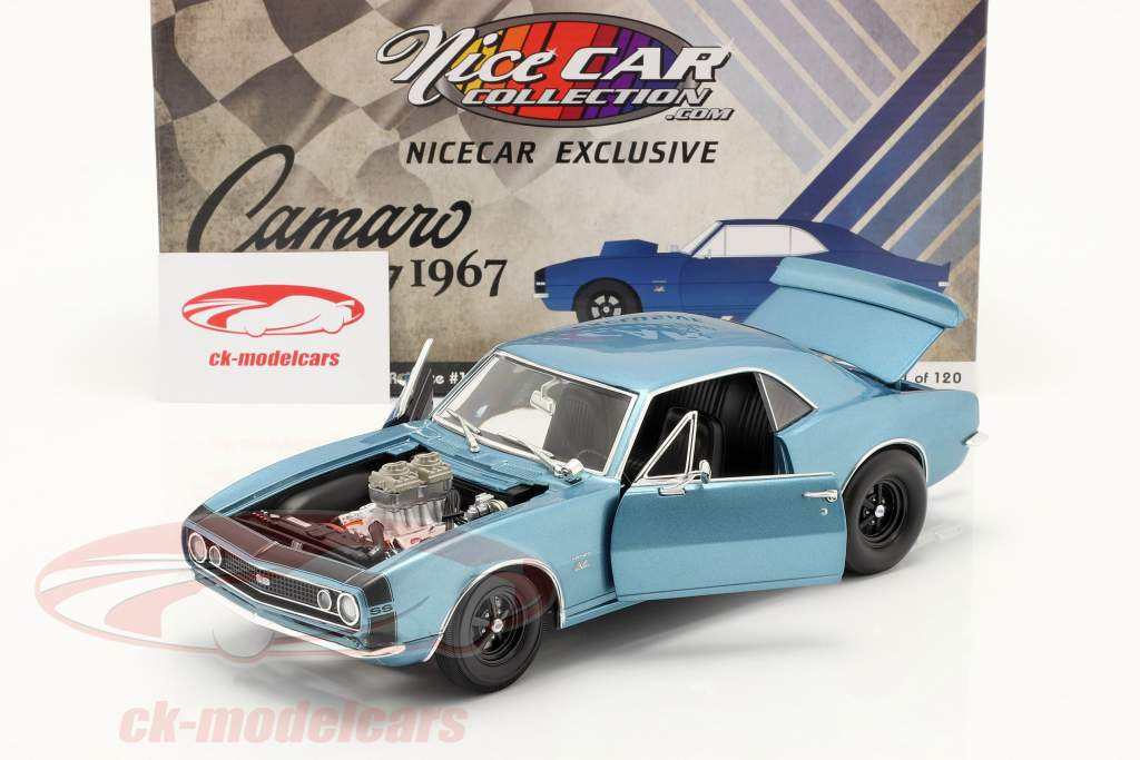 Chevrolet Camaro Drag Outlaws 1967 bleu 1:18 GMP
