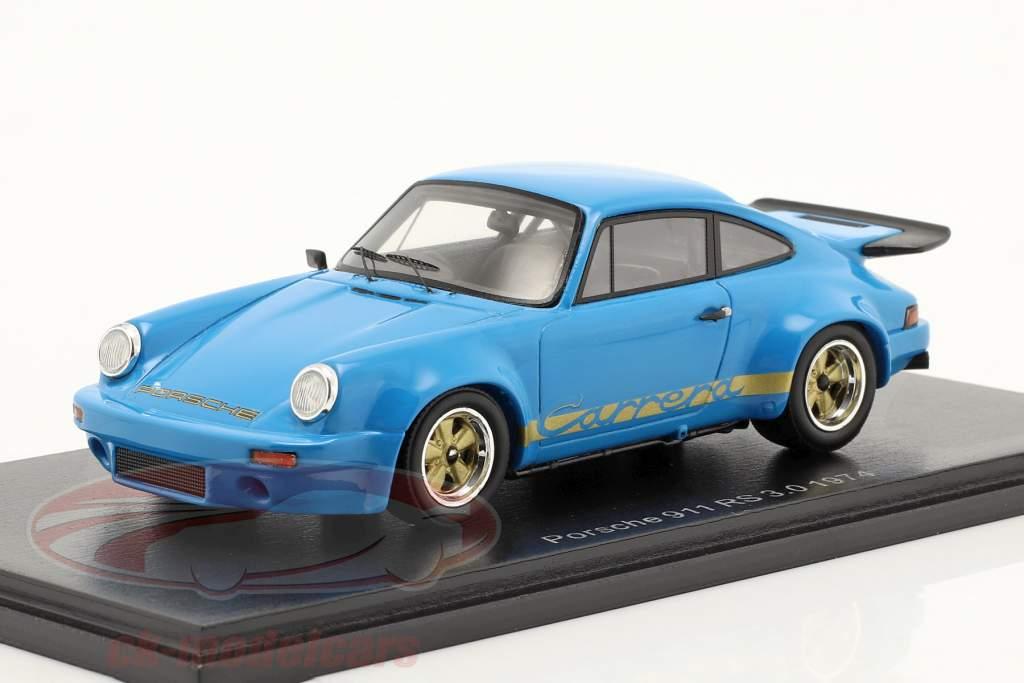 Porsche 911 RS 3.0 RHD year 1974 blue 1:43 Spark