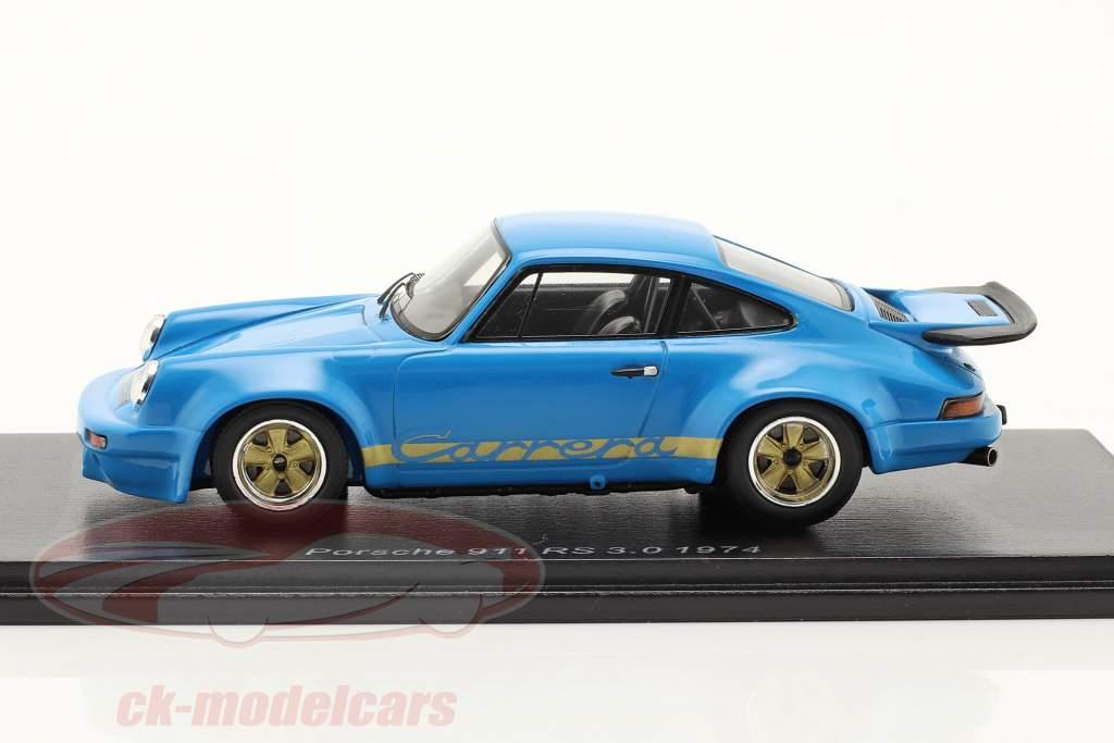 Porsche 911 RS 3.0 RHD Byggeår 1974 blå 1:43 Spark