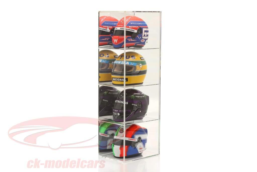 Hochwertige verspiegelte Vitrine mit 4 Fächern für Helme im Maßstab 1:2 SAFE