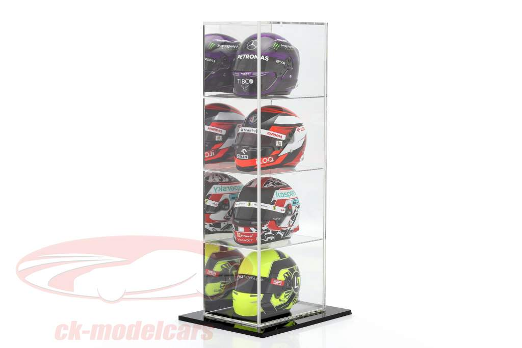 High quality mirrored Stand showcase with 4 compartments for helmets scale 1:2 SAFE
