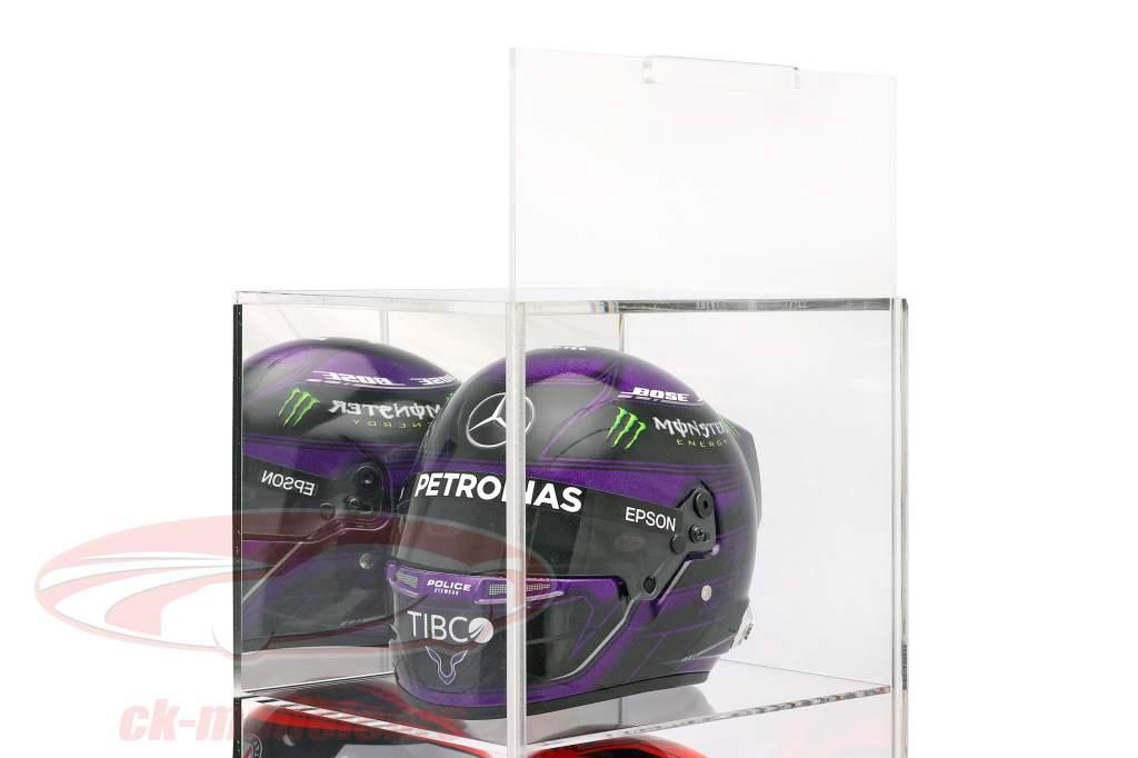 Hochwertige verspiegelte Standvitrine mit 4 Fächern für Helme Maßstab 1:2 SAFE