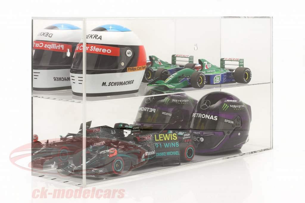 High quality mirrored Showcase for helmets 1:2 or modelcars 1:18 SAFE