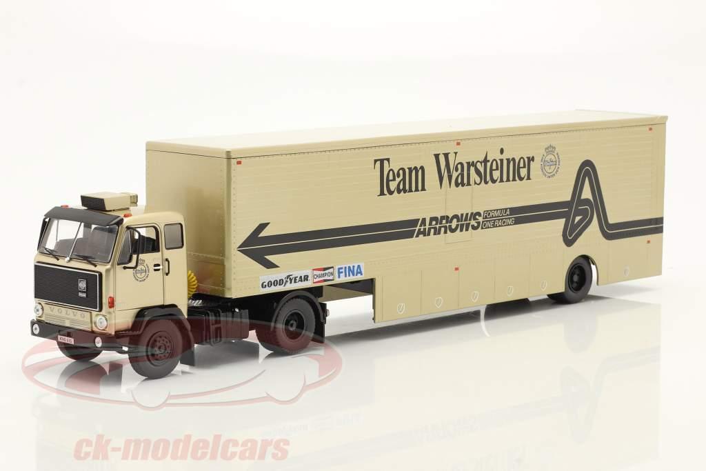 Volvo F89 Race Car Transporter formula 1 1981 Team Warsteiner Arrows 1:43 Ixo