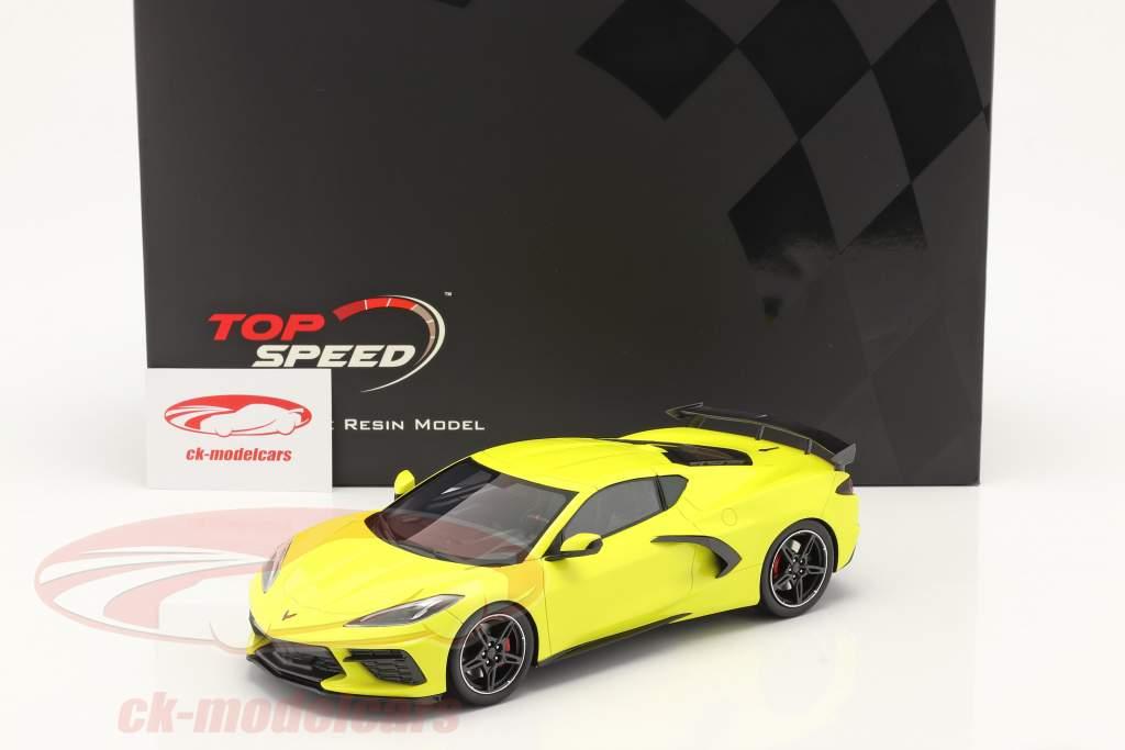 Chevrolet Corvette C8 Stingray year 2020 accelerate yellow metallic 1:18 TrueScale