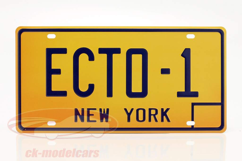 License plate 30 x 15 cm ECTO-1 Cadillac 1959 Movie Ghostbusters (1984) orange