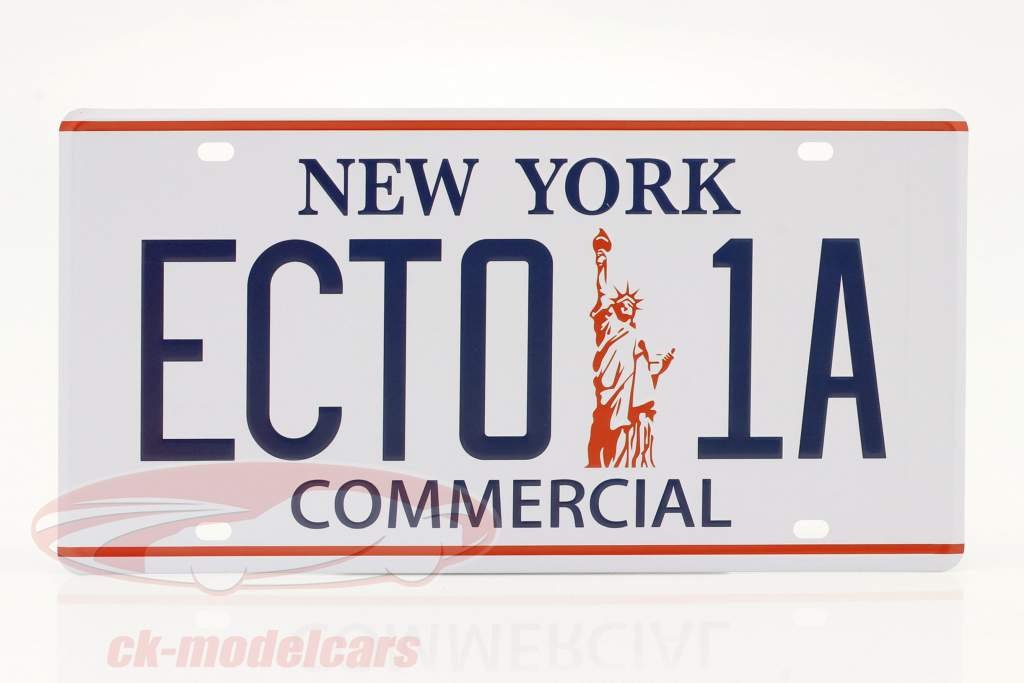 Nummerplade 30 x 15 cm ECTO-1A Cadillac 1959 Film Ghostbusters (1984) hvid