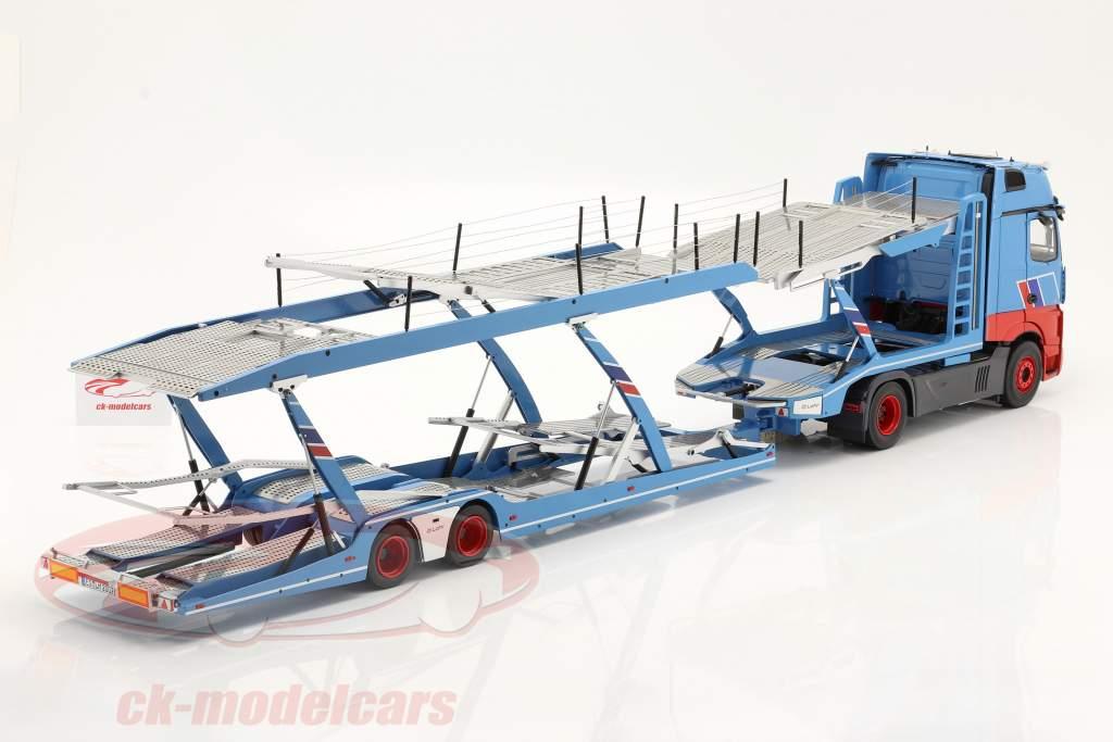 set Mercedes-Benz Actros with Lohr Car transporter Mosolf light blue 1:18 NZG