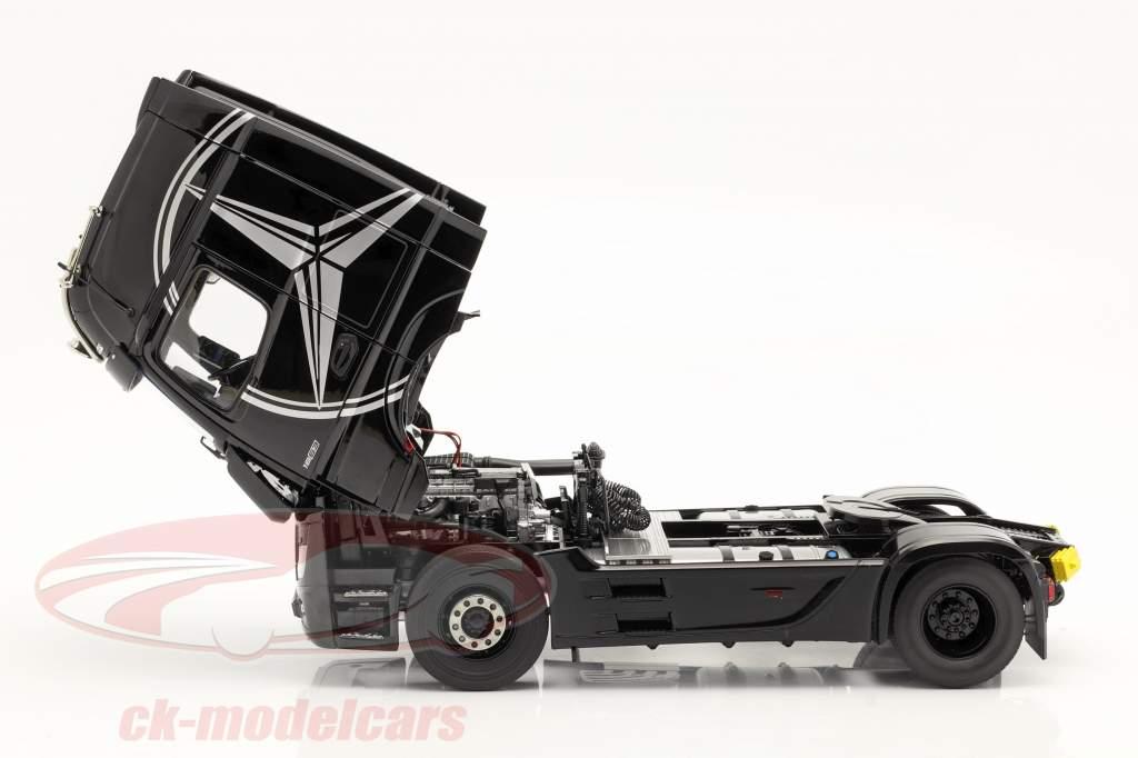 Mercedes-Benz Actros Gigaspace 4x2 SZM negro con Mercedes diseño 1:18 NZG
