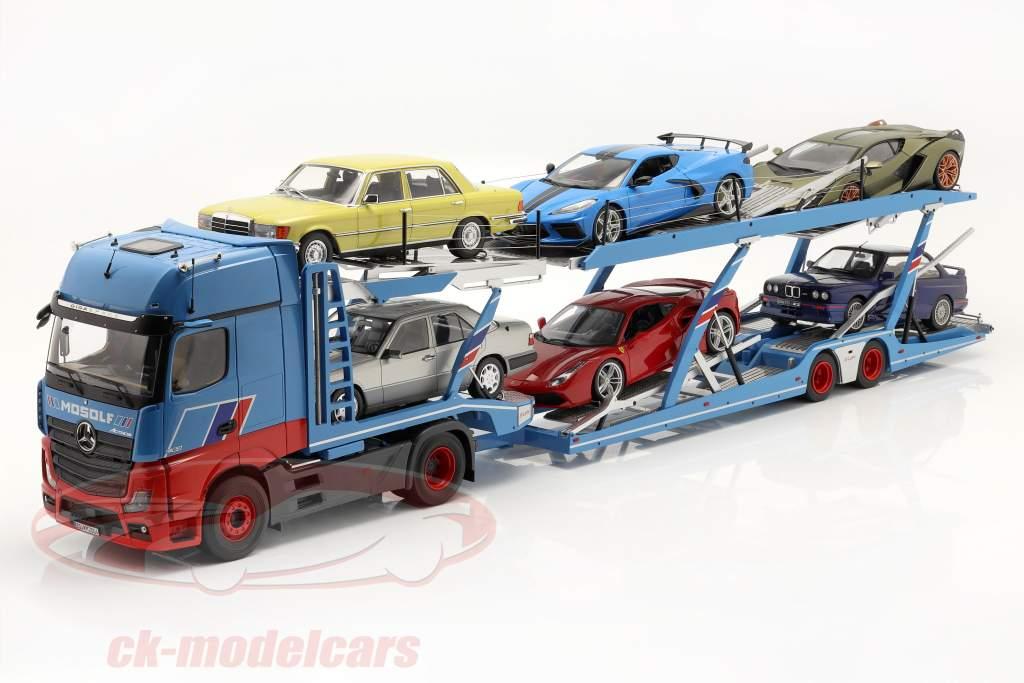 sæt Mercedes-Benz Actros med Lohr Biltransportør Mosolf Lyseblå 1:18 NZG