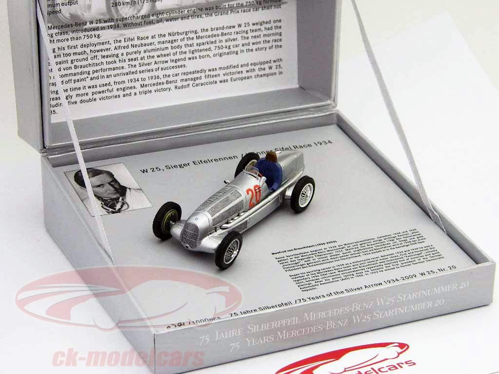 Mercedes Benz W25 silver arrow  #20 v. Brauchitsch formula 1 1934 1:43 Minimax