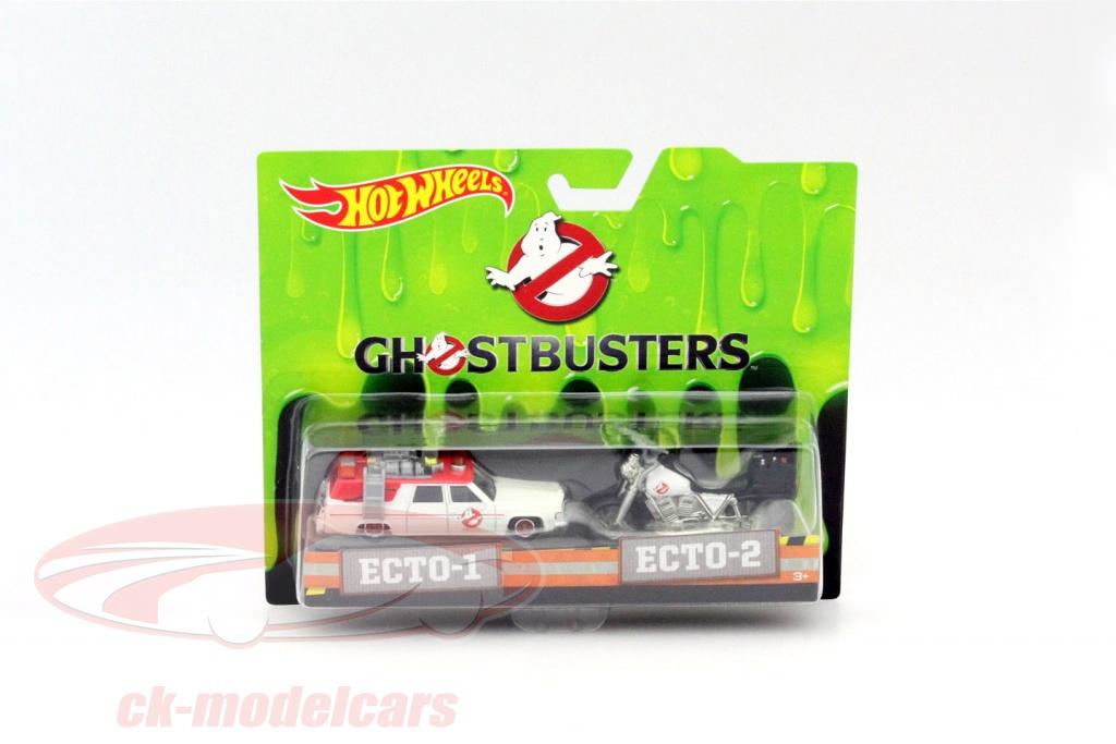 hotwheels-1-64-2-car-set-ghostbusters-ecto-1-car-and-ecto-2-bike-white-drw73/
