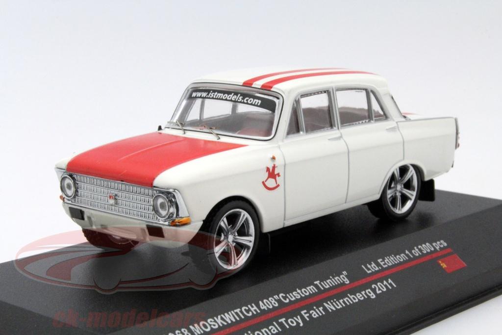 ixo-1-43-moskwitch-408-custom-tuning-jaar-1968-toy-fair-nuernberg-2011-wit-rood-ist102/