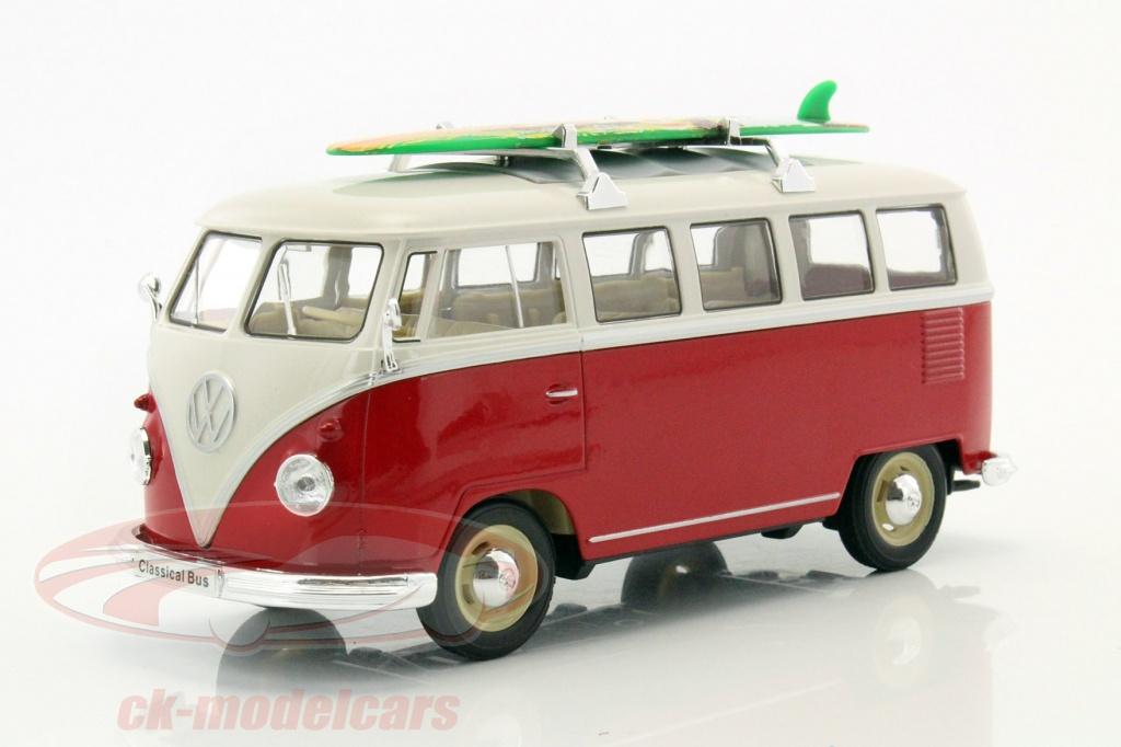 welly-1-24-volkswagen-vw-t1-bus-annee-de-construction-1963-avec-planche-de-surf-rouge-blanc-22095sbr/