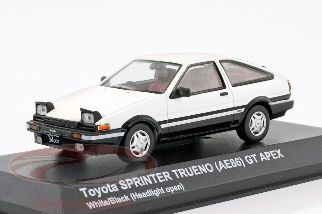 kyosho-1-43-toyota-sprinter-trueno-ae86-headlights-up-weiss-schwarz-3891uw/
