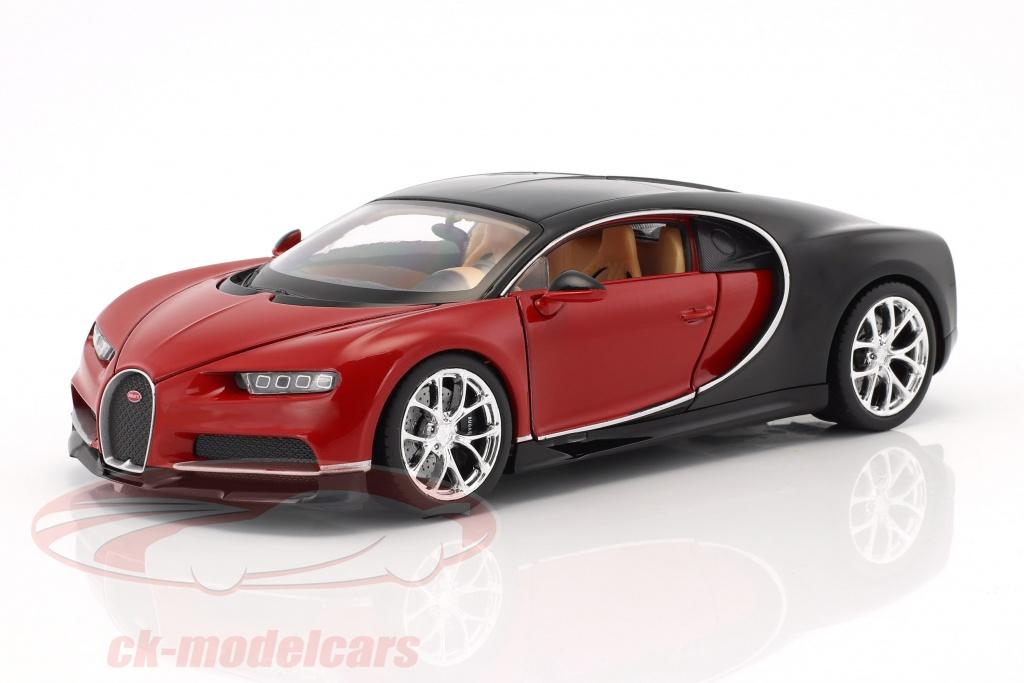 welly-1-24-bugatti-chiron-ano-de-construcao-2017-vermelho-preto-24077r/
