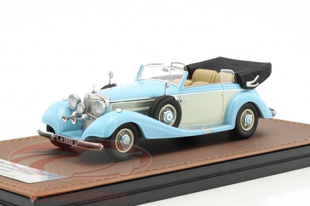great-lighting-models-1-43-mercedes-benz-540k-cabriolet-b-ouvert-version-annee-de-construction-1937-bleu-clair-blanc-glm205302/