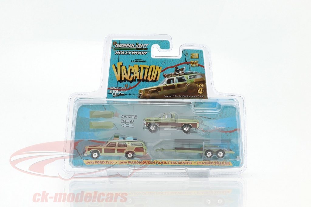 greenlight-1-64-3-car-set-ford-f100-1972-e-wagon-queen-family-truckster-1979-con-flatbed-trailer-31040a/