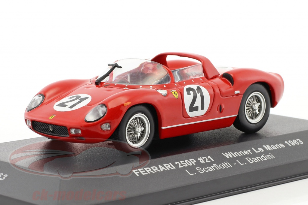 ixo-1-43-ferrari-250p-no21-winnaar-24h-lemans-1963-scarfiotti-bandini-lm1963/