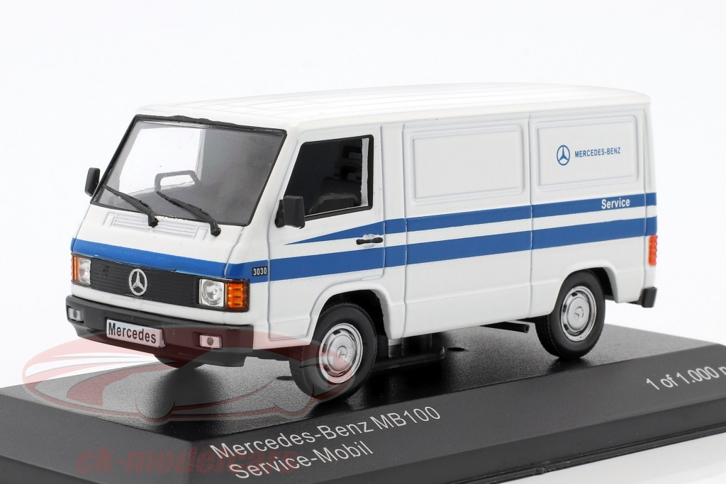 whitebox-1-43-mercedes-benz-mb-100-furgone-mercedes-service-bianco-blu-wb266/