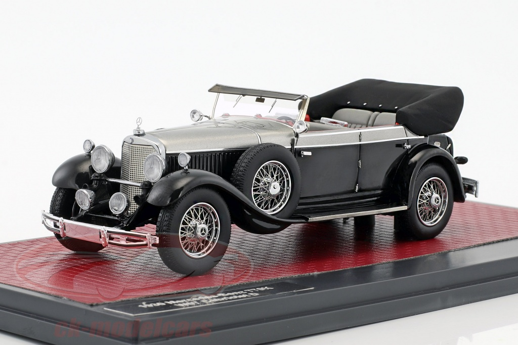 matrix-1-43-mercedes-benz-770k-w07-cabriolet-d-year-1930-black-silver-metallic-mx41302-101/