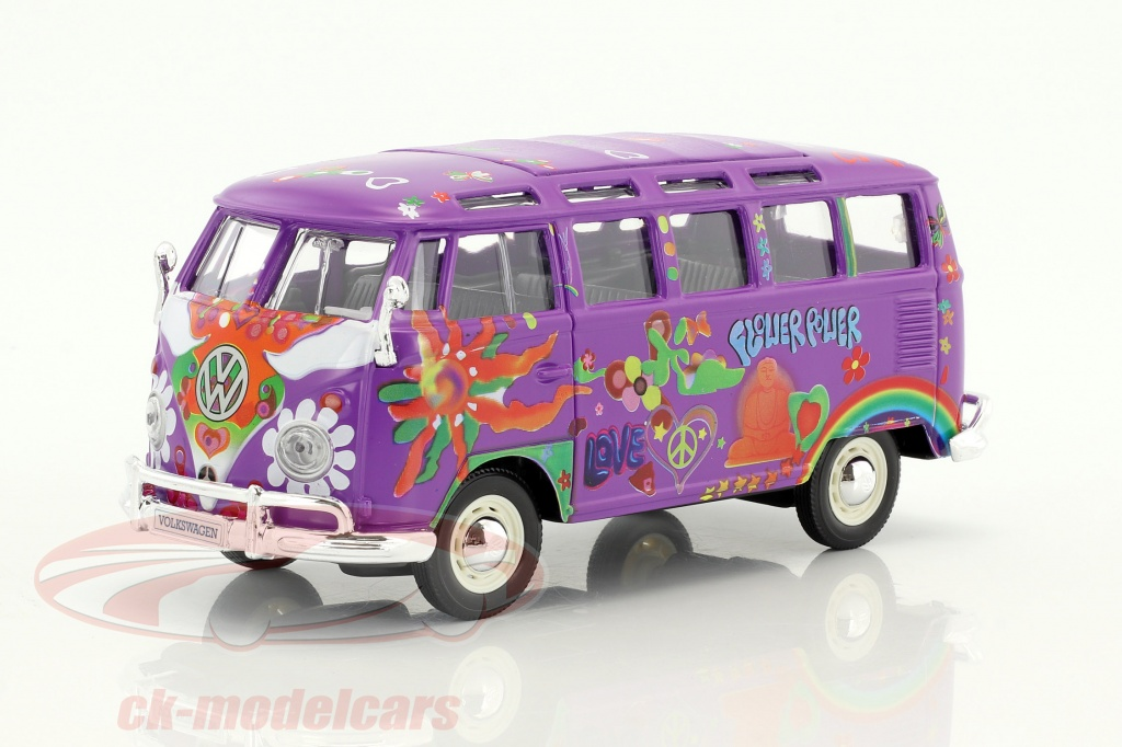 maisto-1-24-volkswagen-vw-t1-samba-bus-hippie-line-flower-power-purple-32301/