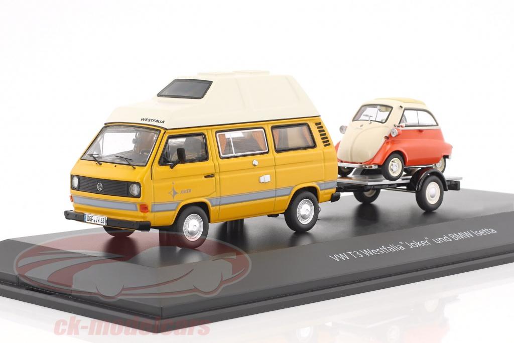 schuco-1-43-volkswagen-vw-t3-joker-campingbus-mit-autoanhaenger-und-bmw-isetta-gelb-rot-weiss-450330300/