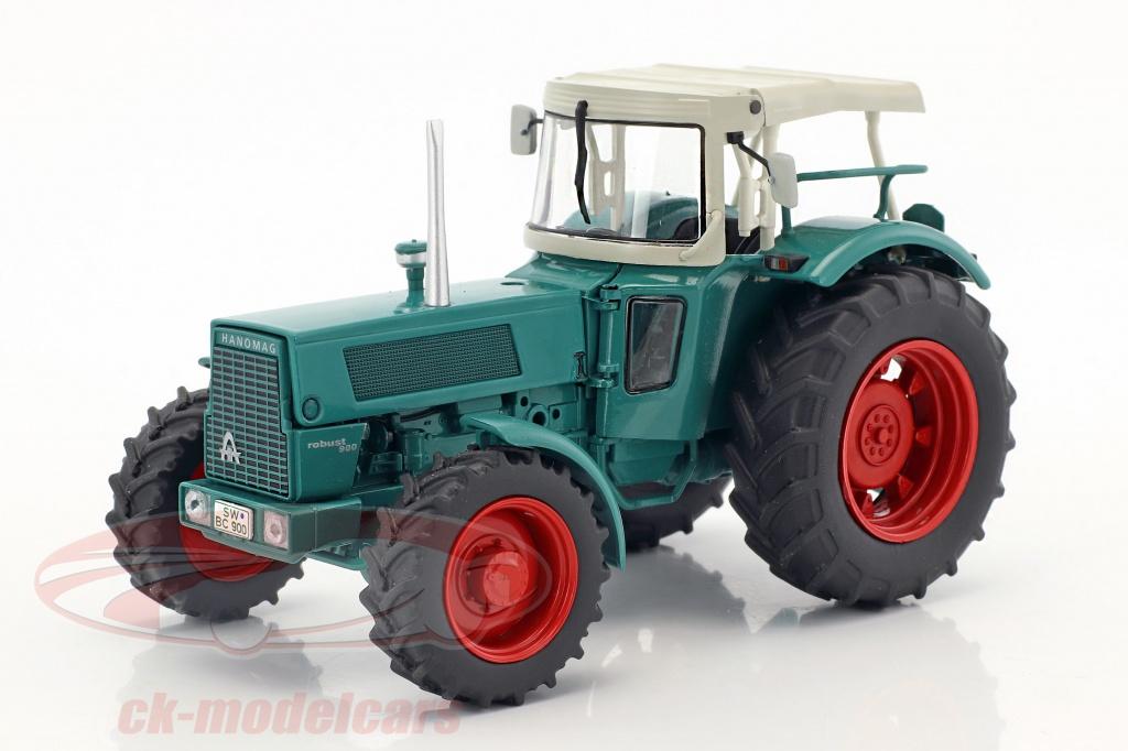 schuco-1-32-hanomag-robust-900-traktor-mit-schaustellerwagen-gruen-beige-braun-450780300/