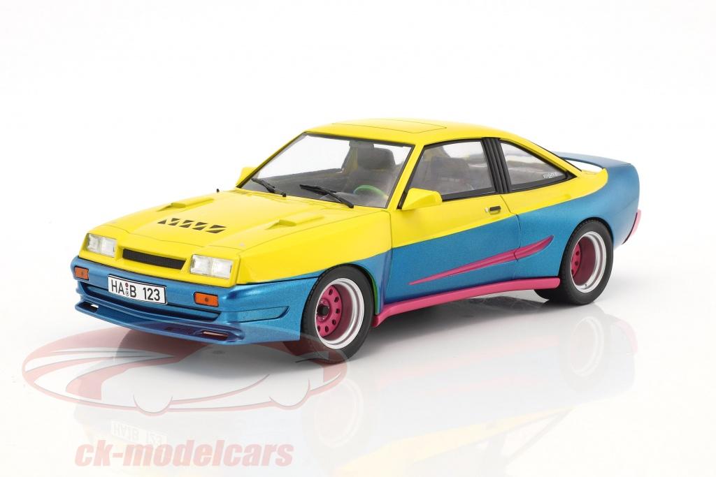 modelcar-group-1-18-opel-manta-b-mattig-film-manta-manta-1991-jaune-bleu-metallique-rose-mcg18095/