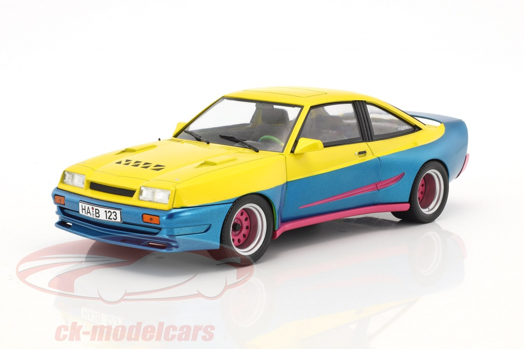 modelcar-group-1-18-opel-manta-b-mattig-movie-manta-manta-1991-yellow-blue-metallic-pink-mcg18095/