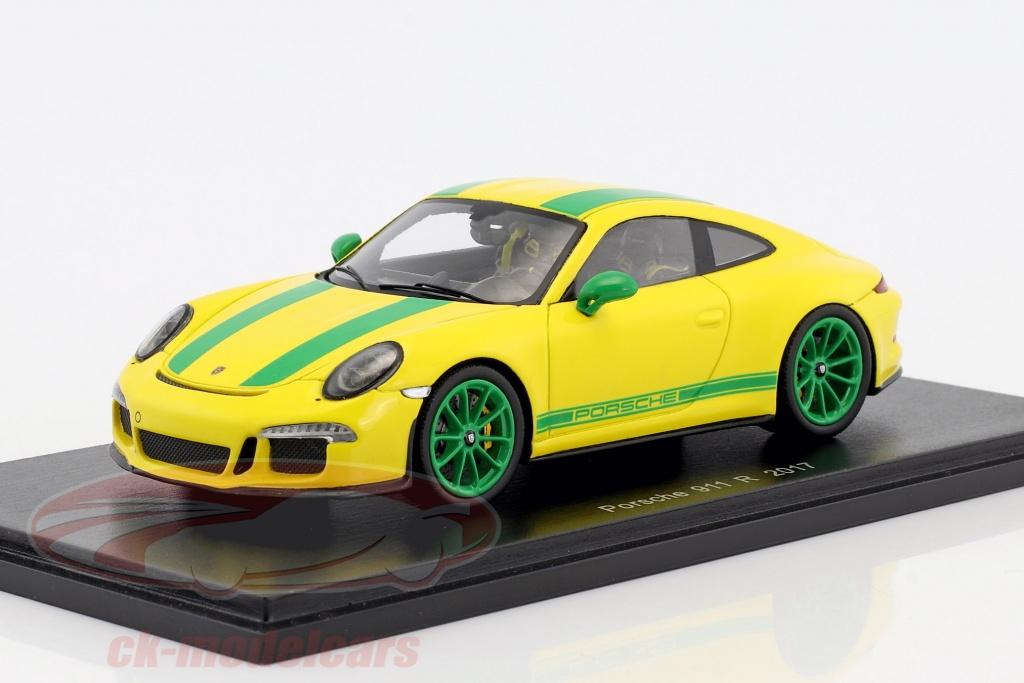 spark-1-43-porsche-911-991-r-anno-di-costruzione-2017-giallo-verde-s4957/