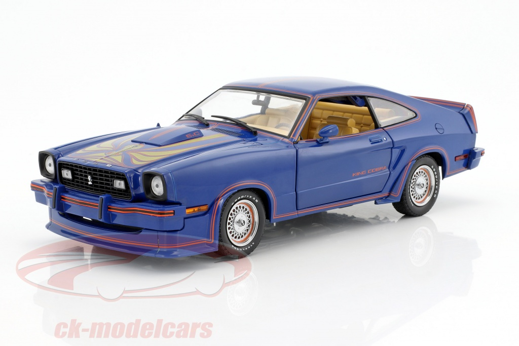 greenlight-1-18-ford-mustang-ii-king-cobra-year-1978-blue-red-gold-13507/