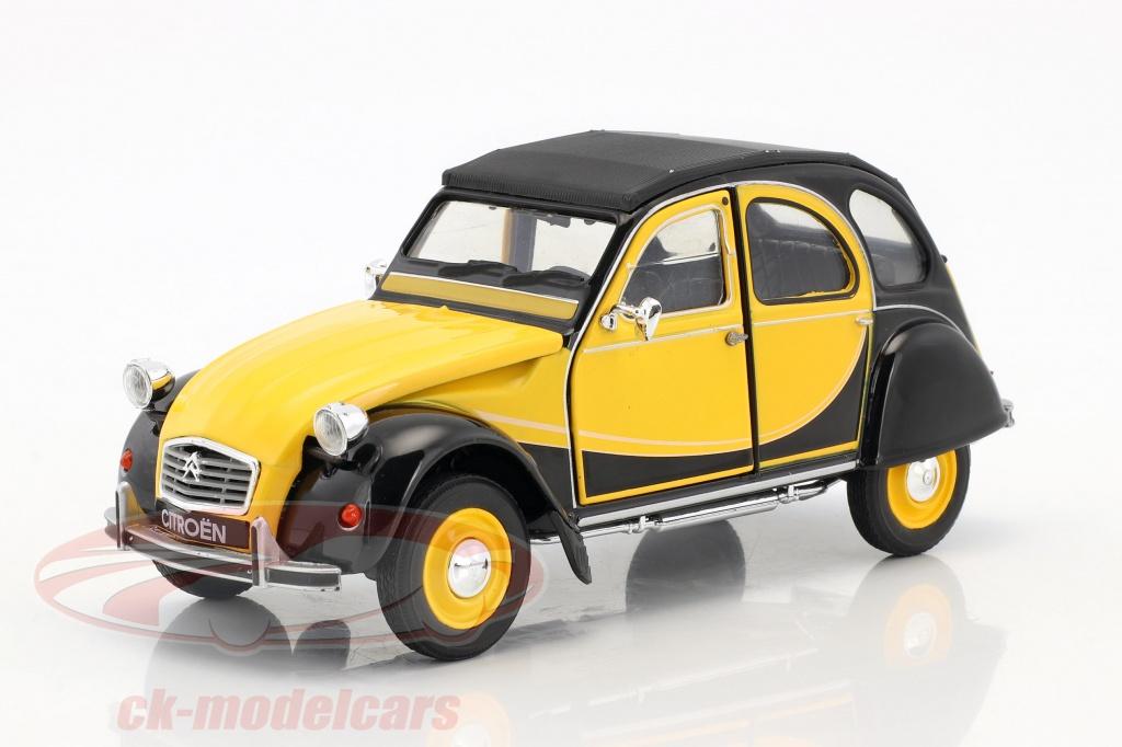 welly-1-24-citroen-2cv-6-charleston-bouwjaar-1982-geel-zwart-24009ybk/