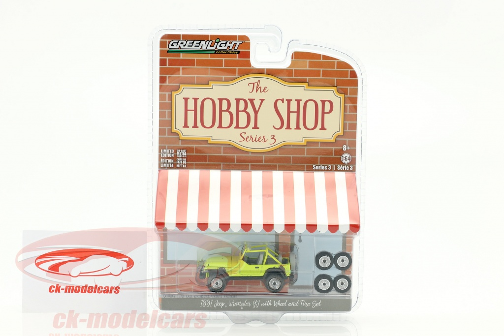 greenlight-1-64-jeep-wrangler-yj-year-1991-yellow-with-wheel-and-tire-set-97030-d/