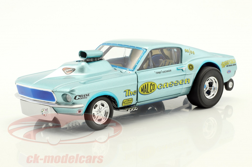 gmp-1-18-ford-mustang-dragster-malco-gasser-year-1967-ohio-george-montgomery-light-blue-18879/