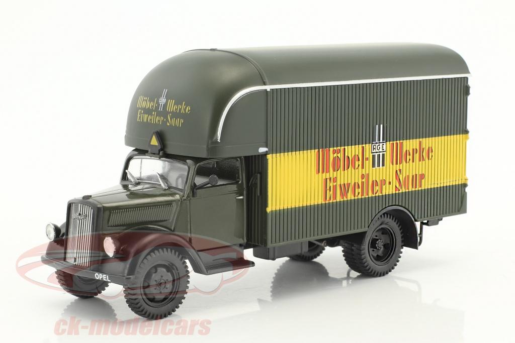 deagostini-1-43-opel-blitz-camion-moebel-werke-eiweiler-saar-sombre-olive-jaune-rouge-en-cloque-ck45010/