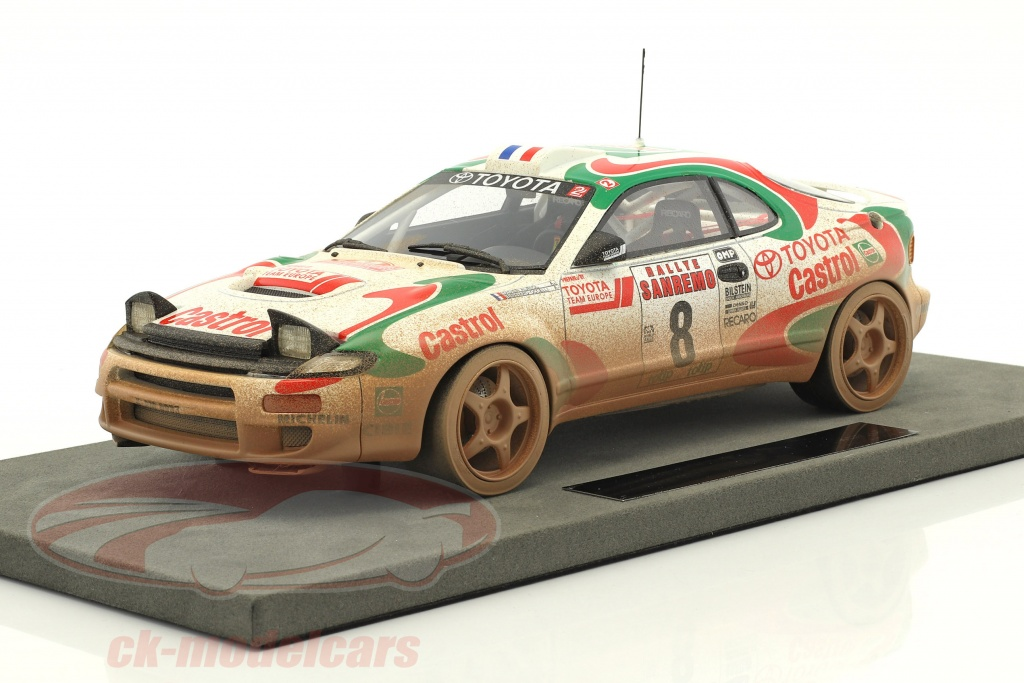 topmarques-1-18-toyota-celica-gt4-dirty-vision-no8-winner-rallye-san-remo-1994-auriol-occelli-top34cd/