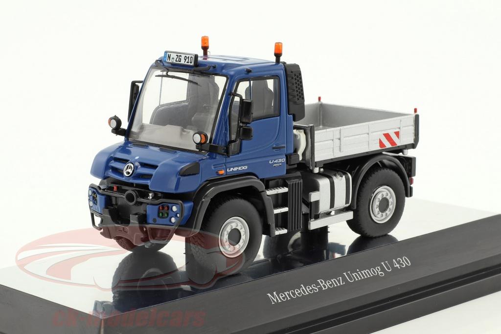 nzg-1-50-mercedes-benz-unimog-u-400-mit-pritsche-blau-silber-910-20/