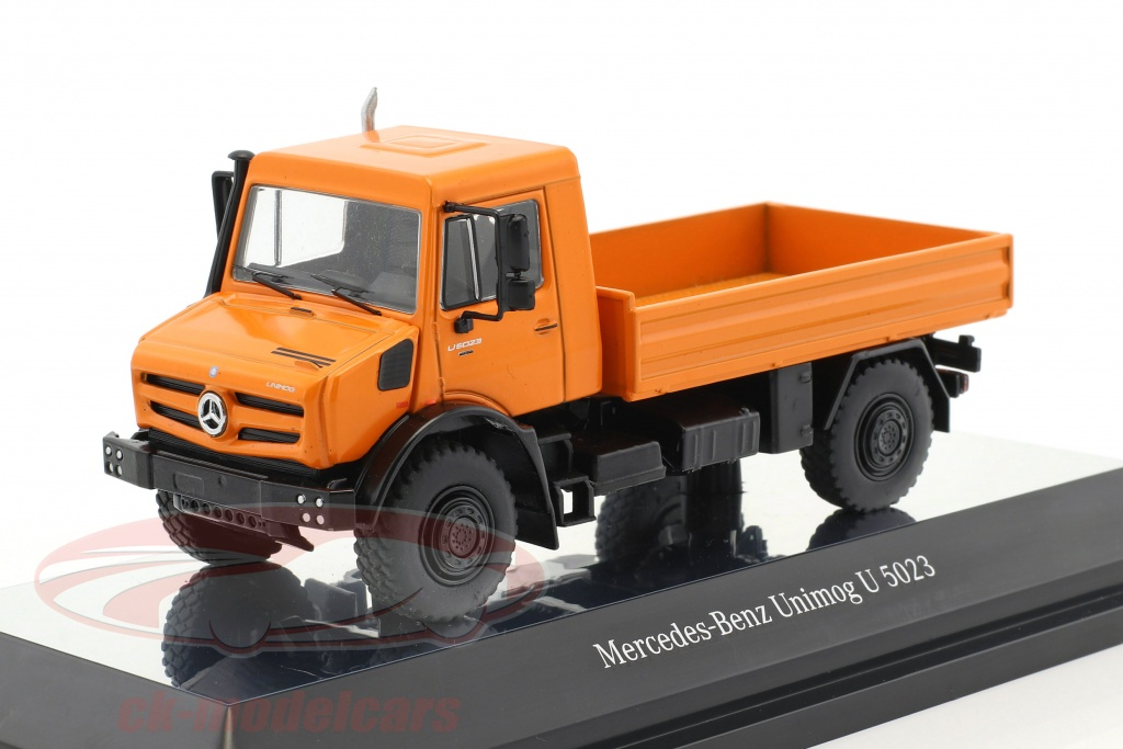 nzg-1-50-mercedes-benz-unimog-u-5000-with-plans-orange-silver-9111-65/